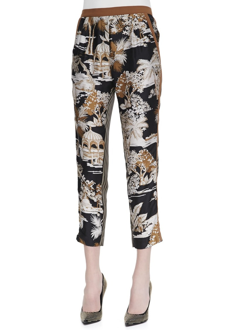 Etro Floral and Striped Silk Pants