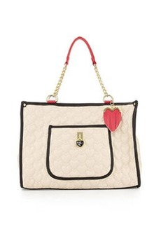 Betsey Johnson Be My Everything Quilted PVC Tote, Cream/Black/Fuchsia