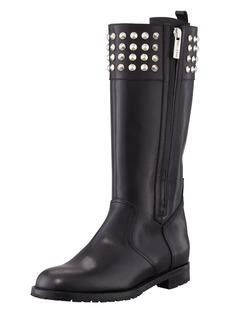 Manolo Blahnik Ermebor Studded Leather Mid-Calf Boot, Black