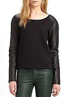 Burberry Leather-Sleeve Raglan Top