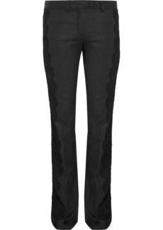 Roberto Cavalli Lace-trimmed wool-blend pants
