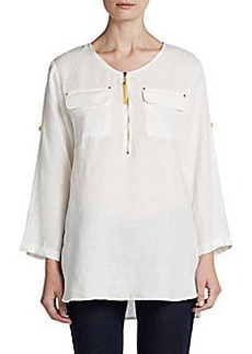 Ellen Tracy Roll-Tab Sleeve Linen Tunic