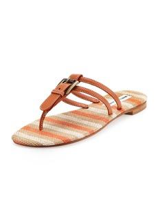 Manolo Blahnik Kinabalu Buckled Thong Sandal, Cognac