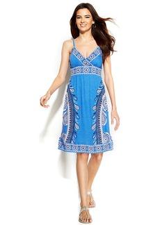 INC International Concepts Petite Spaghetti-Strap Printed Dress