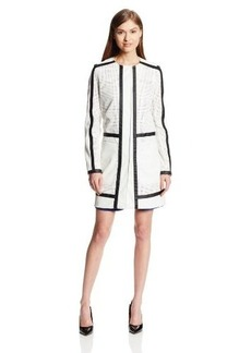 Kenneth Cole New York Women's Collarless Perforated Faux Leather Long Jacket