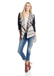 Lucky Brand Women's Mixed Fabric Wrap Jacket