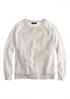 Merino wool sweater in seersucker eyelet