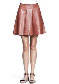 Brunello Cucinelli Shiny Leather Swing Skirt
