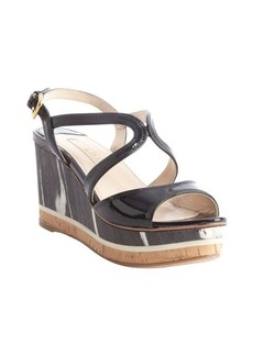 Prada black patent leather cork platform sandals