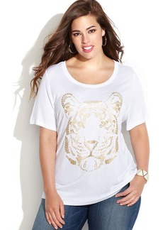 INC International Concepts Plus Size Short-Sleeve Sequin-Tiger Tee