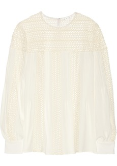 Oscar de la Renta Open knit-paneled crepe blouse