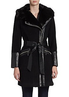 Via Spiga Faux Fur Collar Coat