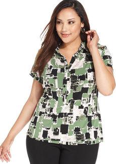 Alfani Plus Size Short-Sleeve Printed Polo Shirt