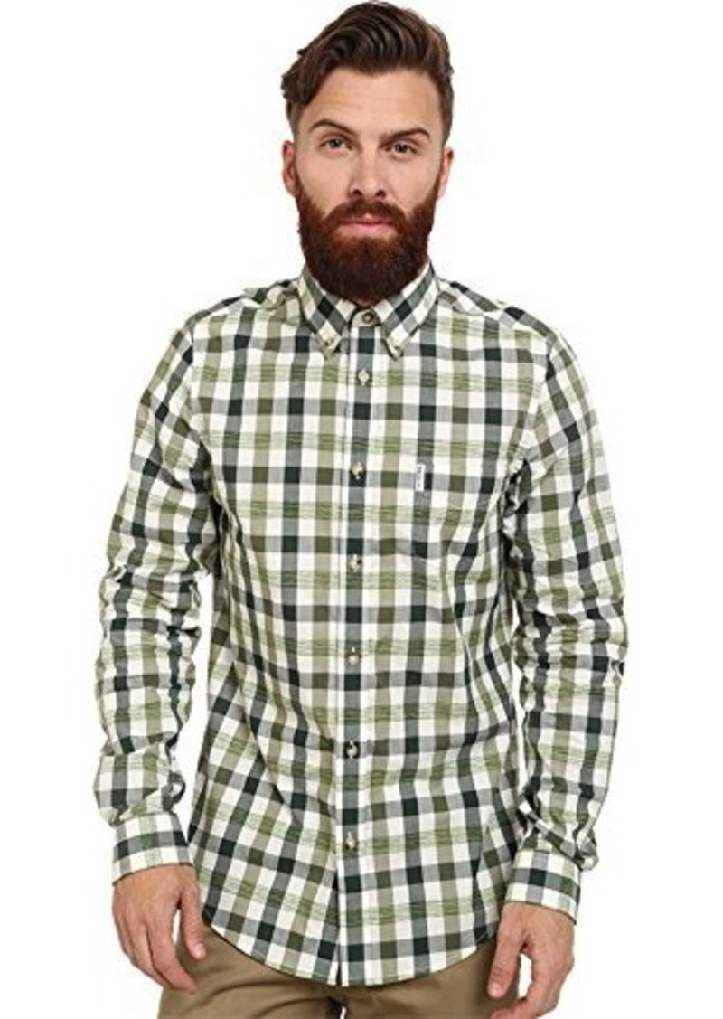 ben sherman ben sherman men 39 s long sleeve space dyed gingham woven shirt military green x. Black Bedroom Furniture Sets. Home Design Ideas