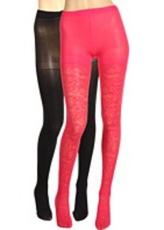 Betsey Johnson 2 Pack Solid/ Ditzy Daisy Gold Lurex Tight