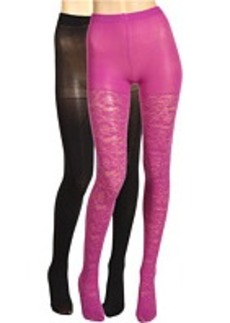 Betsey Johnson 2 Pack Solid/ Ditzy Daisy Silver Lurex Tight