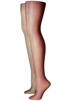 Betsey Johnson 2-Pack Two-Tone Mesh Tights