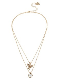 BETSEY JOHNSON Angel and Heart Layered Pendant Necklace