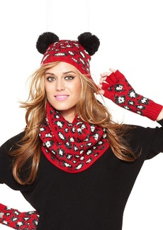 Betsey Johnson Animal Print Pom Pom Beanie