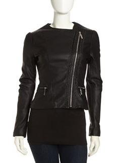 Betsey Johnson Asymmetric Cropped Faux-Leather Moto Jacket, Black