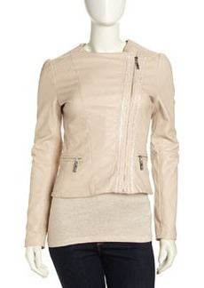 Betsey Johnson Asymmetric Cropped Faux-Leather Moto Jacket, Nude