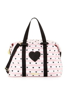 Betsey Johnson Away We Go Striped Nylon Weekender Bag