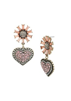 BETSEY JOHNSON Baguette Stone Flower and Pave Heart Drop Earring