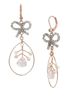 BETSEY JOHNSON Ballerina Rose Bow Orbital Drop Earrings