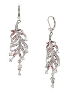 BETSEY JOHNSON Ballerina Rose Feather Drop Earrings