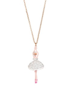 BETSEY JOHNSON Ballerina Rose Long Pendant Necklace