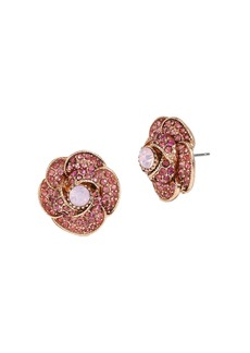 BETSEY JOHNSON Ballerina Rose Pave Stud Earrings
