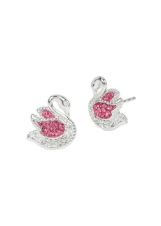 BETSEY JOHNSON Ballerina Rose Swan Stud Earrings