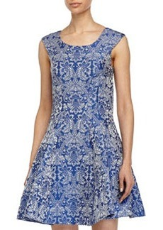 Betsey Johnson Baroque-Print Fit-and-Flare Dress, Light Blue