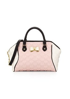 Betsey Johnson Be My Bow Colorblock Large Satchel Bag