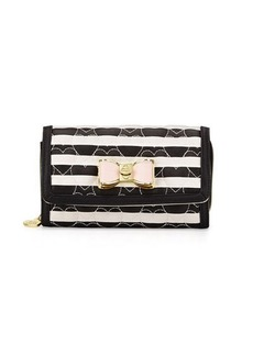 Betsey Johnson Be My Bow Striped Wallet-on-a-Chain