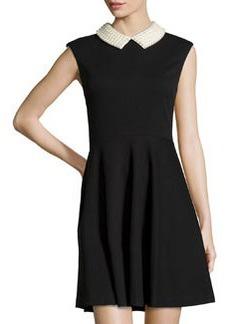 Betsey Johnson Beaded-Collar Sleeveless Fit-and-Flare Dress, Black/Ivory