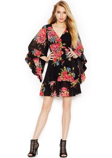 Betsey Johnson Bell-Sleeve Floral-Print Dress