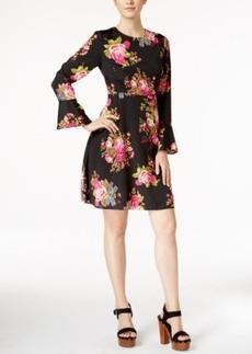 Betsey Johnson Bell-Sleeve Floral-Print Peasant Dress