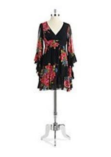 BETSEY JOHNSON Bell Sleeved Floral Dress