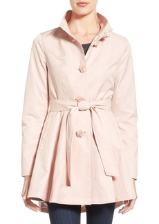 Betsey Johnson Belted High-Low Trench with Flower Buttons