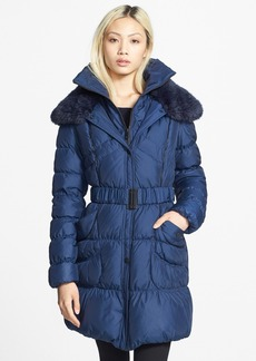 Betsey Johnson Belted Ruched Quilted Coat with Faux Fur Trim (Online Only)