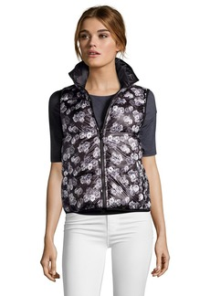 Betsey Johnson black and grey floral print reversible puffer ...