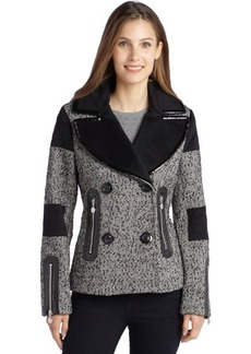 Betsey Johnson black and white herringbone wool blend faux leather trim coat