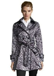 Betsey Johnson black and white leopard print mesh woven double breasted trench coat