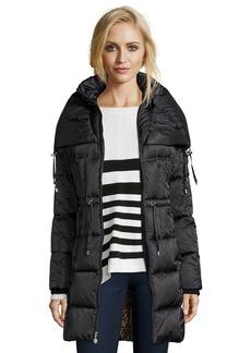 Betsey Johnson black box quilted drawstring waist hooded jacket
