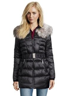 Betsey Johnson black box quilted optional faux fur trimmed coat