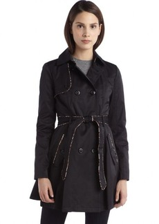Betsey Johnson black cotton leopard trim trench coat