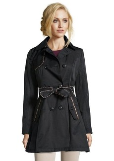Betsey Johnson black cotton leopard trim trench coat