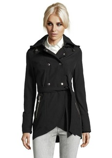 Betsey Johnson black double breasted tulip hem belted trench coat