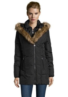 Betsey Johnson black down filled faux fur hooded coat